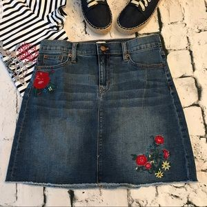 J. Crew Factory Embroidered Denim Skirt Size 4